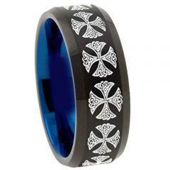 COI Titanium Black Blue Cross Beveled Edges Ring - 4516