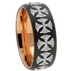 COI Titanium Black Rose Cross Dome Court Ring - 4541