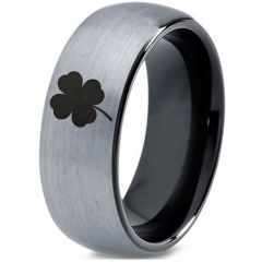 COI Titanium Black Silver Four Leaf Clover Dome Court Ring - 4543