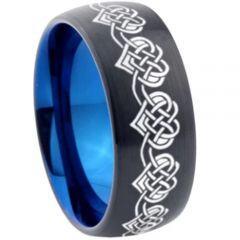 COI Titanium Black Blue Hearts Dome Court Ring-4575