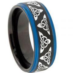 COI Titanium Black Blue Trinity Knots Step Edges Ring-4579
