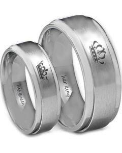 *COI Titanium King Queen Crown Step Edges Ring - JT3800