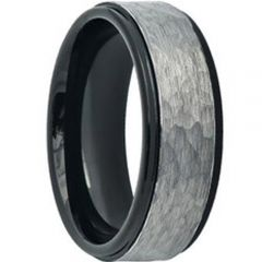 COI Titanium Black Silver Hammered Wedding Band Ring - JT3822