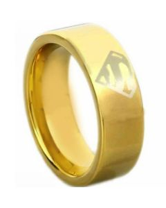 *COI Gold Tone Titanium Superman Pipe Cut Flat Ring-4612