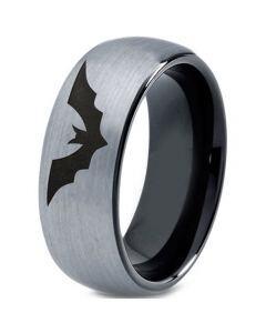 COI Titanium Black Silver Bat Dome Court Ring - 4656