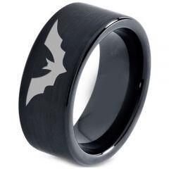 COI Black Titanium Bat Pipe Cut Flat Ring - 4661