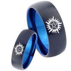 COI Titanium Black Blue Supernatural Dome Court Ring - 4666