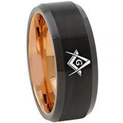 COI Titanium Black Rose Masonic Beveled Edges Ring - 4668