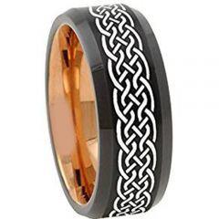 COI Titanium Black Rose Celtic Beveled Edges Ring - 4671