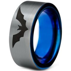 COI Titanium Blue Silver Bat Pipe Cut Flat Ring - 4698