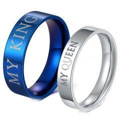 COI Titanium Blue/Silver King Queen Pipe Cut Flat Ring-JT4024