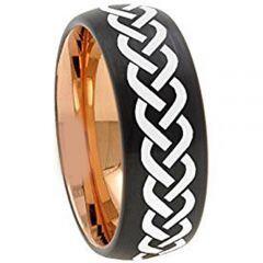COI Titanium Black Rose Celtic Dome Court Ring - 4738