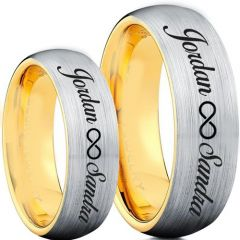 COI Titanium Gold Tone Silver Ring With Custom Names Engraving-5003