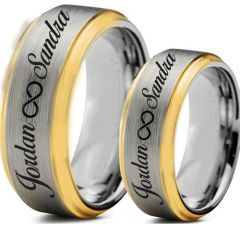 COI Titanium Gold Tone Silver Ring With Custom Names Engraving-5006