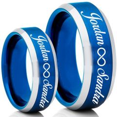 COI Titanium Blue Silver Infinity Custom Names Engraving Ring-5007