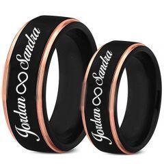 COI Titanium Black Rose Ring With Custom Names Engraving-5018