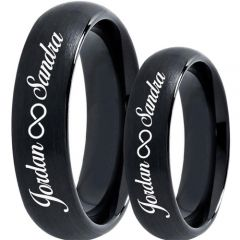 COI Black Titanium Dome Court Ring With Custom Names Engraving-5019
