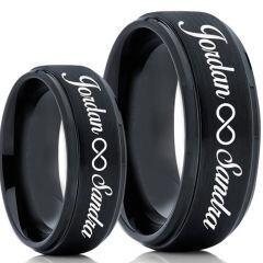 COI Black Titanium Custom Names Engraving Step Edges Ring-5020