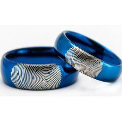 COI Blue Titanium Dome Court Ring With Custom Fingerprint-5021