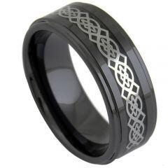 COI Black Titanium Celtic Inlays Step Edges Ring-5024
