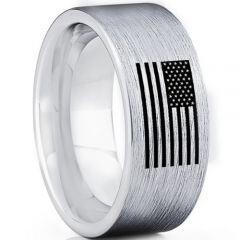 COI Titanium Pipe Cut Flat Ring With American Flag-5025