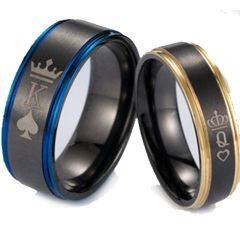 COI Titanium Black Blue/Rose King Queen Crown Ring-5053