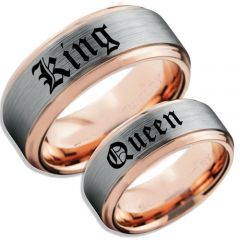 COI Titanium Rose Silver King Queen Step Edges Ring-5059