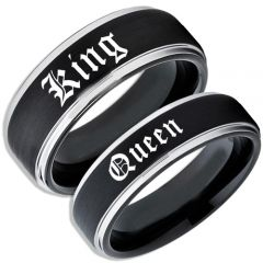 COI Titanium Black Silver King Queen Step Edges Ring-5060