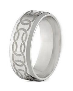 COI Titanium Celtic Beveled Edges Ring-5074