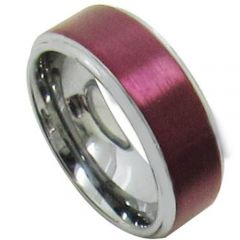 COI Titanium Purple Red Beveled Edges Ring-5182