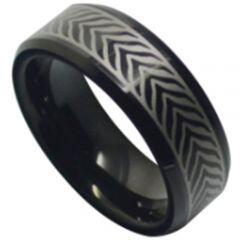 COI Black Titanium Celtic Beveled Edges Ring-5186