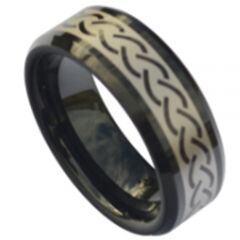 COI Black Titanium Celtic Beveled Edges Ring-5187