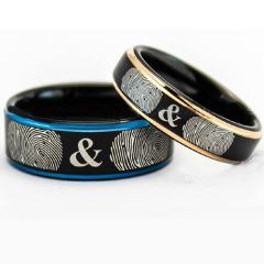 COI Titanium Black Blue/Rose Ring With Custom Fingerprint-5158