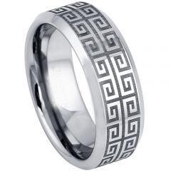 COI Titanium Greek Key Beveled Edges Ring-5200