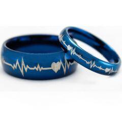 COI Blue Titanium Heartbeat & Heart Ring-5203