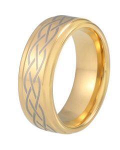 COI Gold Tone Titanium Celtic Step Edges Ring-5212