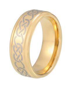 COI Gold Tone Titanium Celtic Step Edges Ring-5213