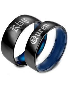 COI Titanium Black Blue King Queen Dome Court Ring-5458