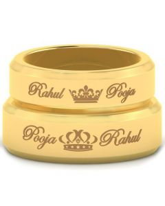 *COI Gold Tone Titanium King Queen Crown Beveled Edges Ring With Custom Names Engraving-5459