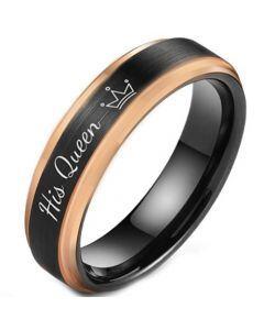 **COI Titanium Black Rose His Queen Crown Step Edges Ring-5850