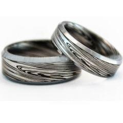 COI Titanium Black Silver Damascus Beveled Edges Ring-729