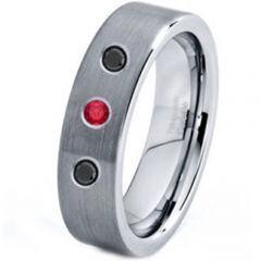 COI Titanium Ring With Genuine Diamond & Cerated Ruby-JT760