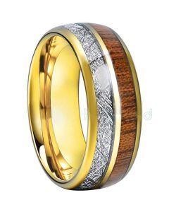 COI Titanium Meteorite & Wood Dome Court Ring - JT1551AA