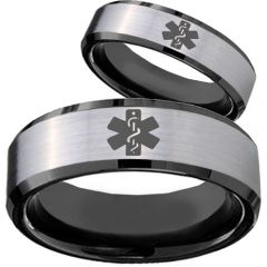COI Titanium Black Silver Medical Alert Beveled Edges Ring - 879