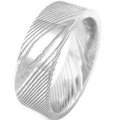 COI Titanium Damascus Pipe Cut Flat Ring - 920