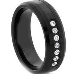 *COI Black Titanium Beveled Edges Ring With Cubic Zirconia-2654