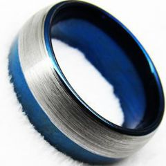 COI Titanium Blue Silver Dome Court Ring - JT3575