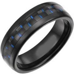 COI Black Titanium Dome Court Ring With Carbon Fiber-JT5076