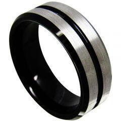 COI Titanium Center Groove Beveled Edges Ring - JT3579