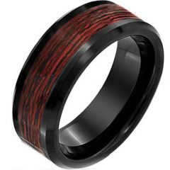 COI Black Titanium Beveled Edges Ring With Wood - JT3836